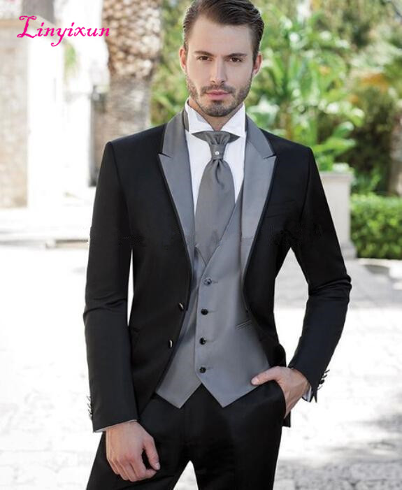 Linyixun Black Silver Mens Suits Wedding Suits For Groom Tuxedos Grooms Suits Two Buttons Three Pieces Groomsmen Suits