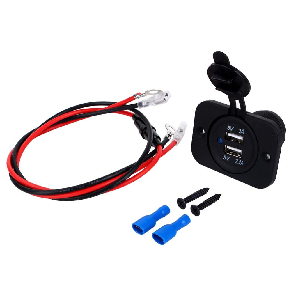 Dual USB Car Cigarette Lighter Socket Splitter 12V Mobilephone Charger Power Adapter Outlet Parts Auto Black Universal