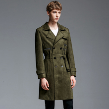 S-6XL  Big yards men's clothing !!!  201 Double breasted trench chamois male  deerskin cashmere overcoat medium-long outerwear