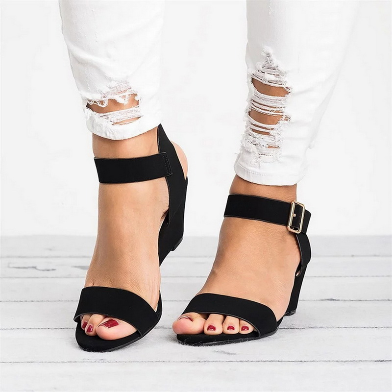 High-Heels Sandals Wedges Adjustable Shoes Casual Peep-Toe Platform Solid with Female