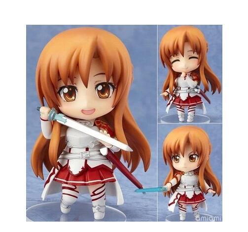 Anime Catoon Sword Art Online Asuna Q version Nendoroid PVC Action Figure Collectible Models Toys #283 anime figma 289 sword art online ii kirito alo ver alover kirigaya kazuto pvc action figure collectible model toy 14cm kt2969
