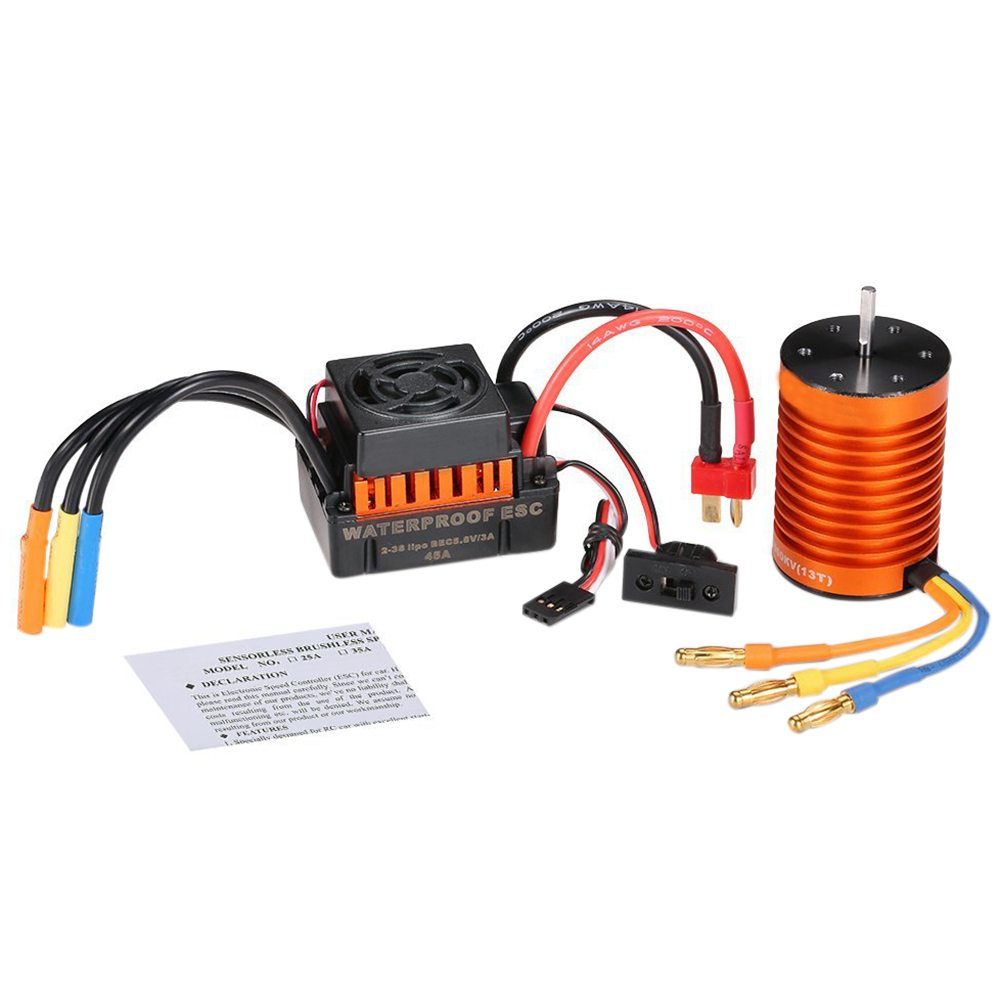 New Waterproof F540 4370KV Brushless Motor with 45A ESC Combo Set for 1/10 RC Car Truck hobbywing ezrun max8 v3 t trx plug waterproof 150a esc brushless esc 4274 2200kv motor led program card for 1 8 rc car crawler