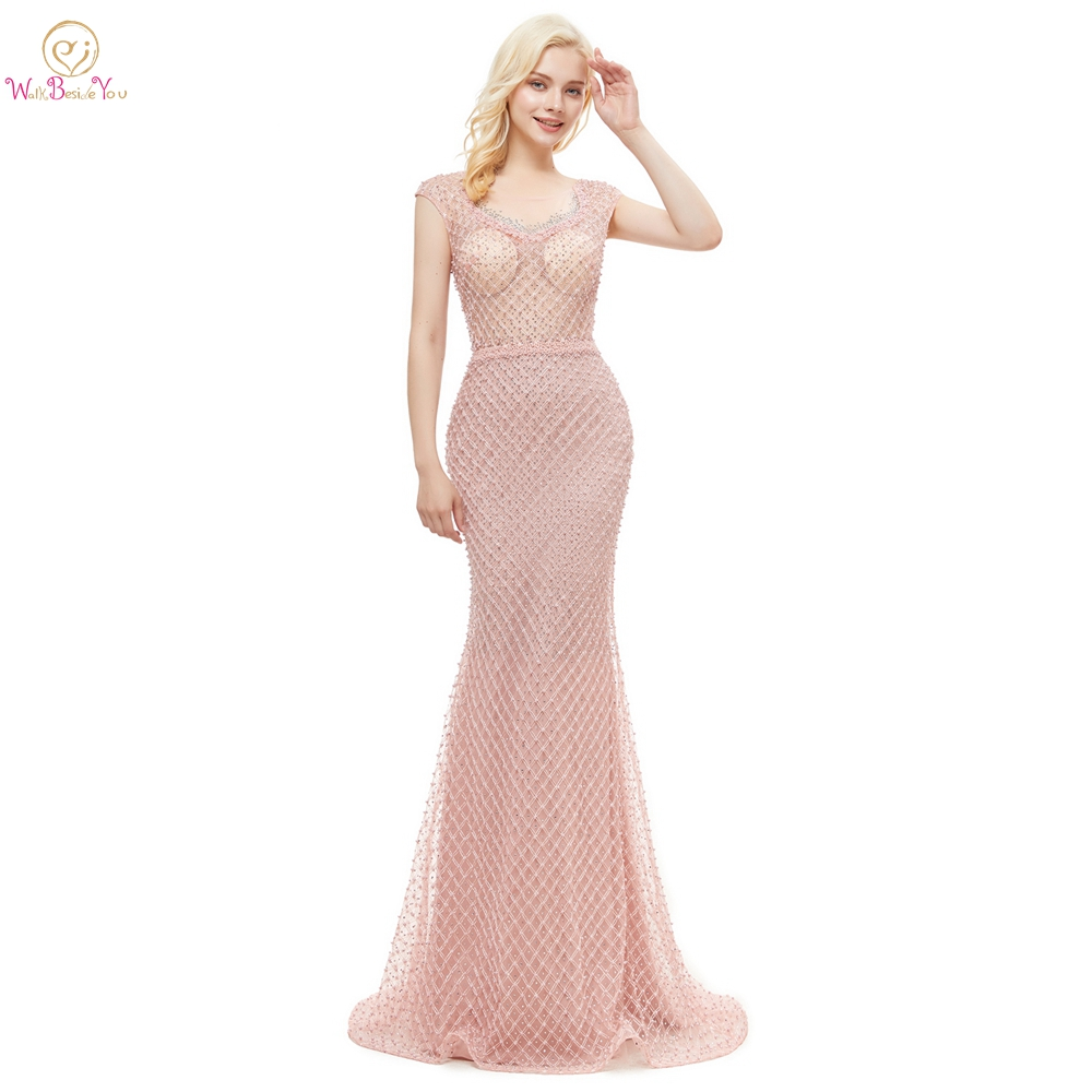 2019   Prom     Dresses   Pink Beaded Bodice Pearl Rhinestone Cap Sleeve Transparent Lace Sheer Mermaid Long Girl Evening Gown Train