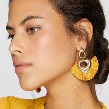 New Bohemian Heart-shaped Statement tassel earrings dangle Pendientes fan fringe boho