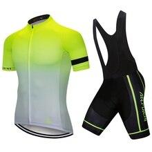 Градиентный цвет Велоспорт Джерси Набор для мужчин короткий рукав езда на велосипеде одежда для мужчин нагрудник Майки Индивидуальные/ обслуживание