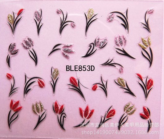 3D Nails Art Sticker all decoration slider yellow red flower adhesive nail design decals manicure lacquer foil Lacquer Polishing water sticker for nails art all decorations sliders merry christmas deer adhesive nail design decals manicure lacquer foil