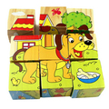 free shipping wooden cartoon puzzle   3d   six face painting building    puzzle for  child