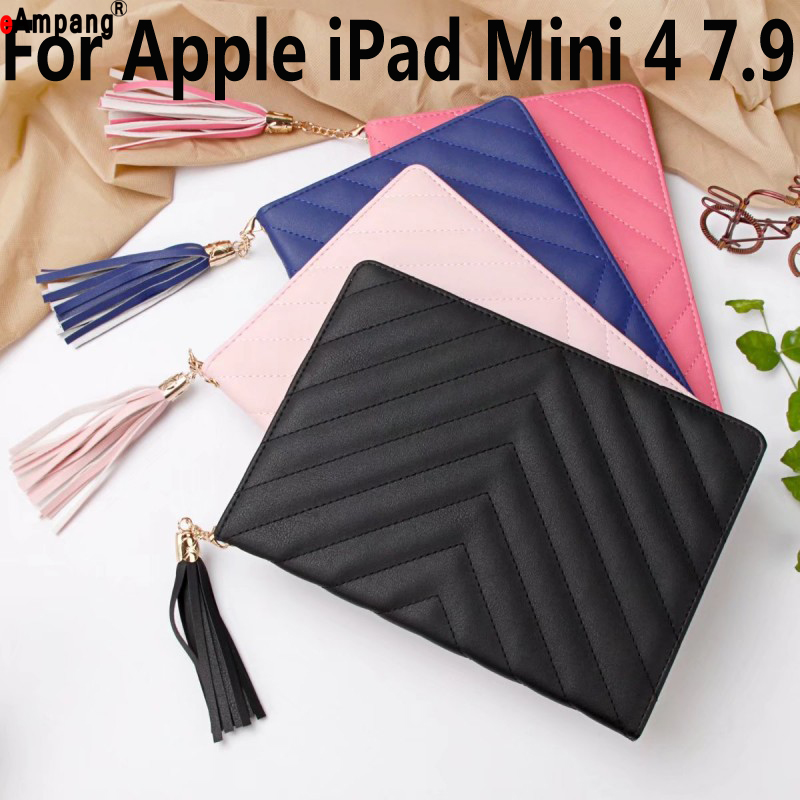 Luxury Case For iPad Mini 4 7.9 Fashion Twill PU Leather Stand Case For iPad Mini4 Cover with Stylus Slim Cover for iPad 7.9 for ipad mini4 cover high quality soft tpu rubber back case for ipad mini 4 silicone back cover semi transparent case shell skin