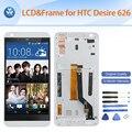 """Melhor qualidade lcd original para htc desire 626 626g display lcd de toque digitador da tela + quadro branco preto azul 5 """"pantalla + ferramentas"""