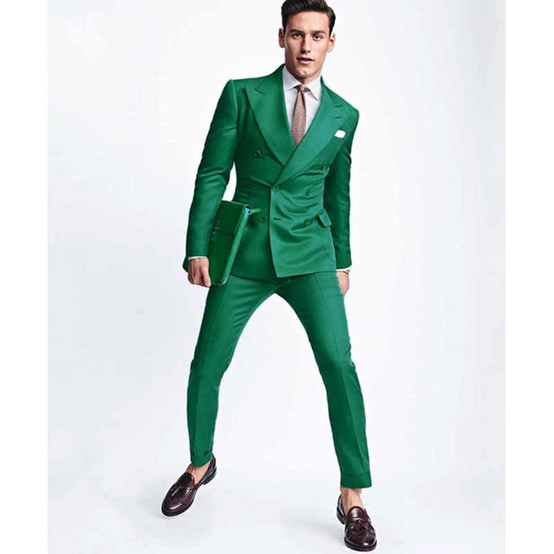 2017 Latest Coat Pant Designs Green Men Wedding Suit Slim Fit 2 Piece Double Breasted Tuxedo Custom Groom Prom Blazer Masculino