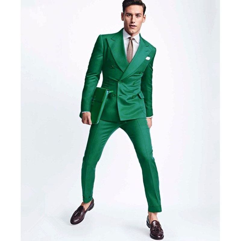 2020 Latest Coat Pant Designs Green Men Wedding Suit Slim Fit 2 Piece Double Breasted Tuxedo Custom Groom Prom Blazer Masculino