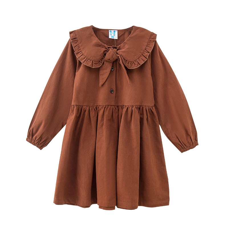 Autumn Vintage Style Girls Dress Bowknot Winter Fall Big Little Girls Dress for Girls halloween plus size bowknot embellished vintage dress