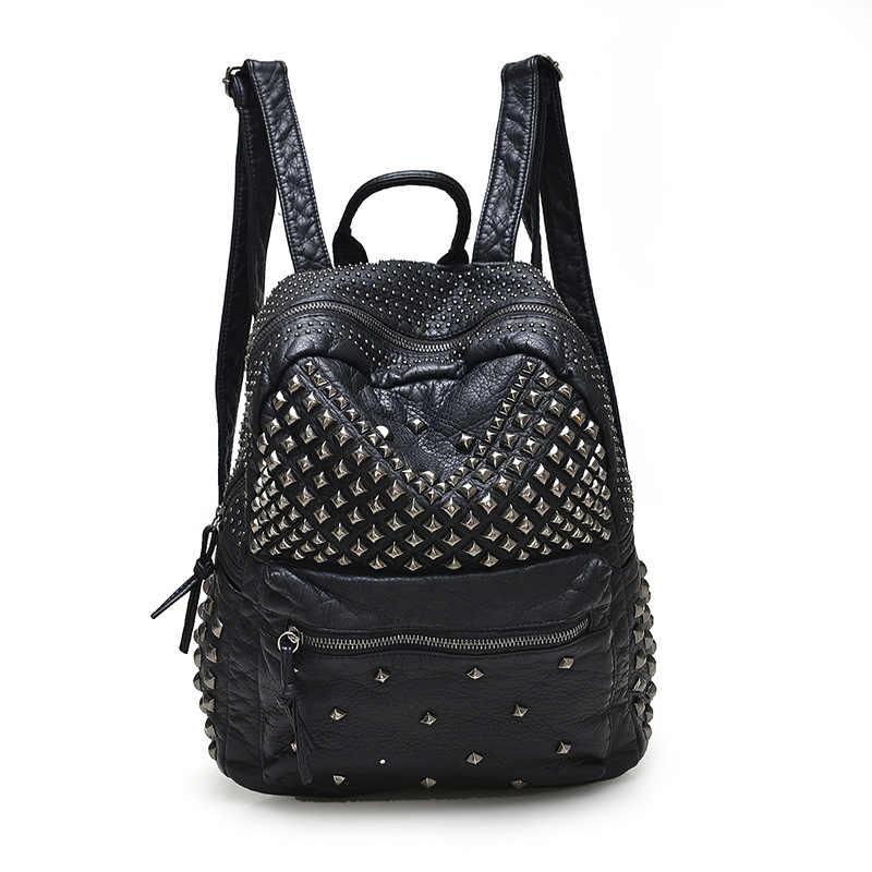 2019 New Women Waterproof PU Leather Rivet Backpack Women s Backpacks for  Teenage Girls Ladies Bags Black 28f4a756883b