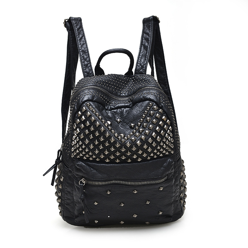 2018 New Women Waterproof PU Leather Rivet Backpack Women's Backpacks for Teenage Girls Ladies Bags Black Bags with Zippers цена