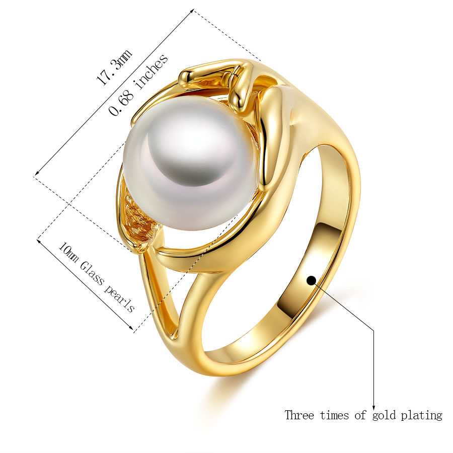 Fashion imitate pearl jewelry rings for women trendy simple design ...