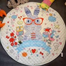 Animal Printed Round Kids Rug  Childrens Carpet Baby Play Mat Soft Developing Puzzle Storage Bag 150cm