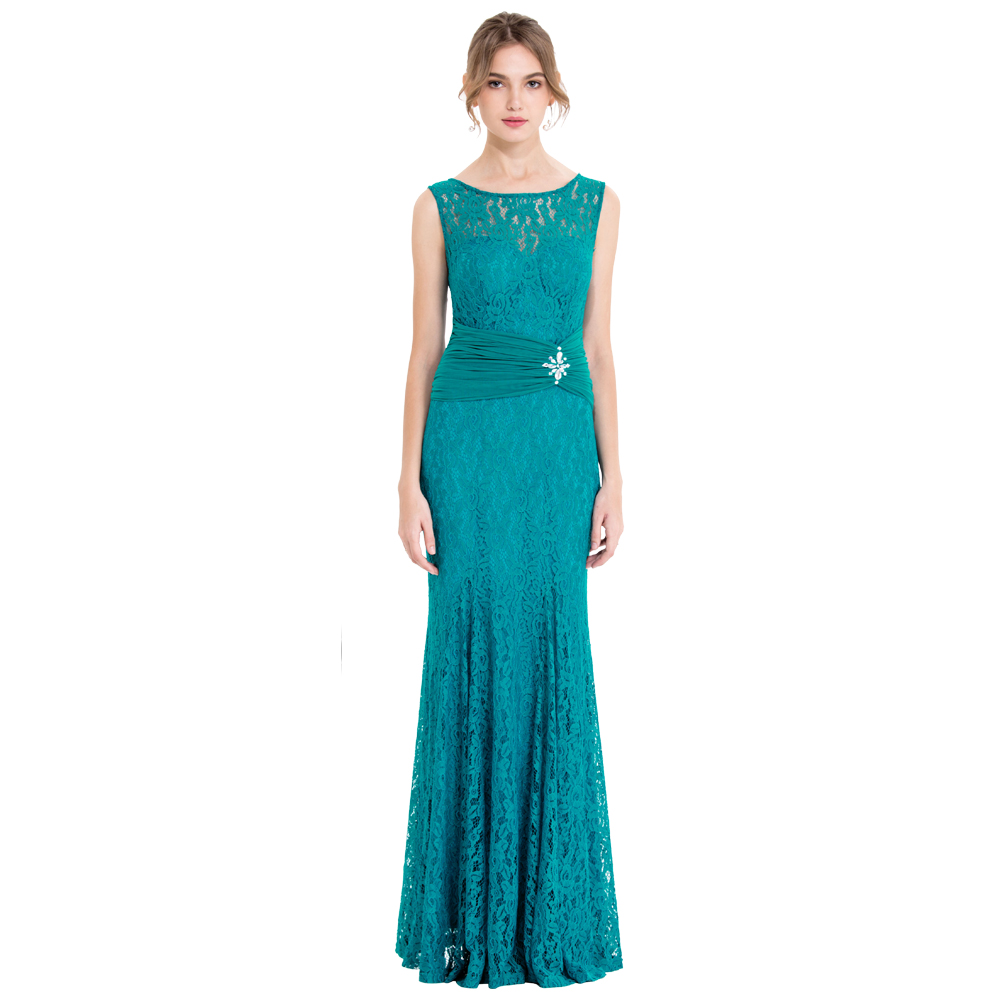 Angel fashions Elegance Evening Dresses Lace Sheer Pleated Beading Long Party Gown Blue Green 418