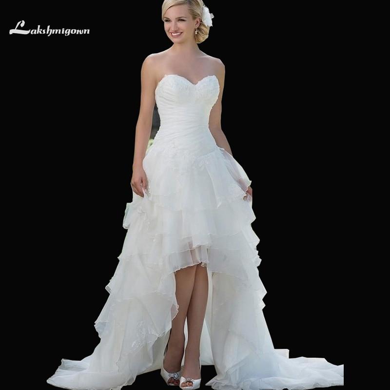 Exquisite Sweetheart Corset High Low Wedding Dresses Organza Appliques Short Front Long Back Bridal Gowns abiti da sposa