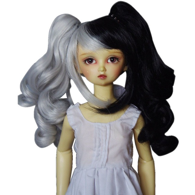 [wamami] 97# white & black wig 1/6 SD DOD AOD DZ LUTS BJD Dollfie with hair clip