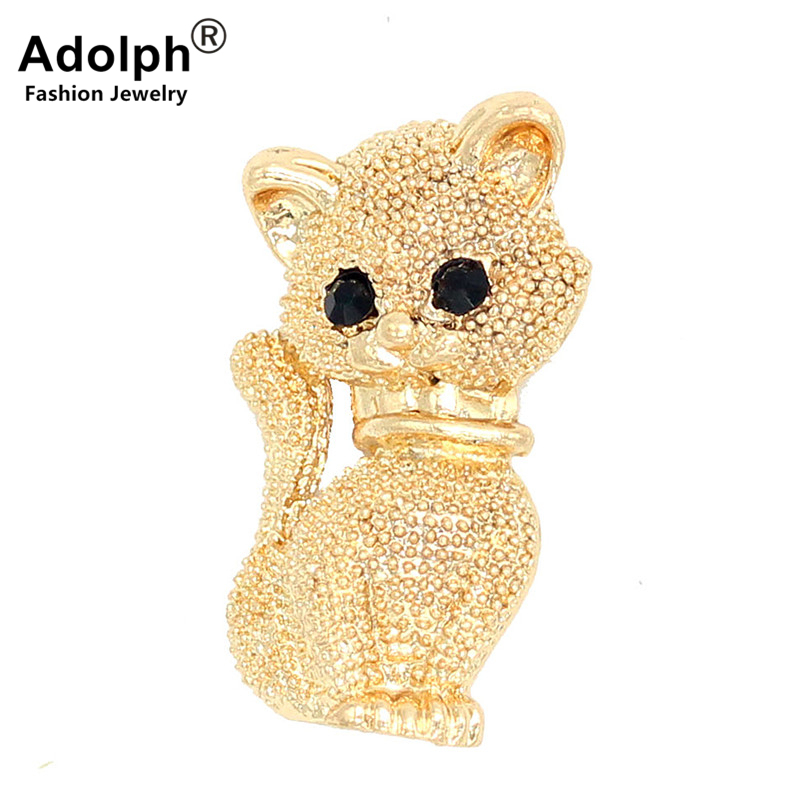 ADOLPH Star Jewelry Gold Color Cat Brooch Pins For Woman Clothers Wedding Dress Bride Animal Broochs Fashion Accessories Female ...
