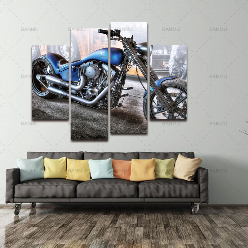 Lærredsmalerier Vægdekoration Kunstværker 4 Paneler Lærred - Indretning af hjemmet - Foto 5