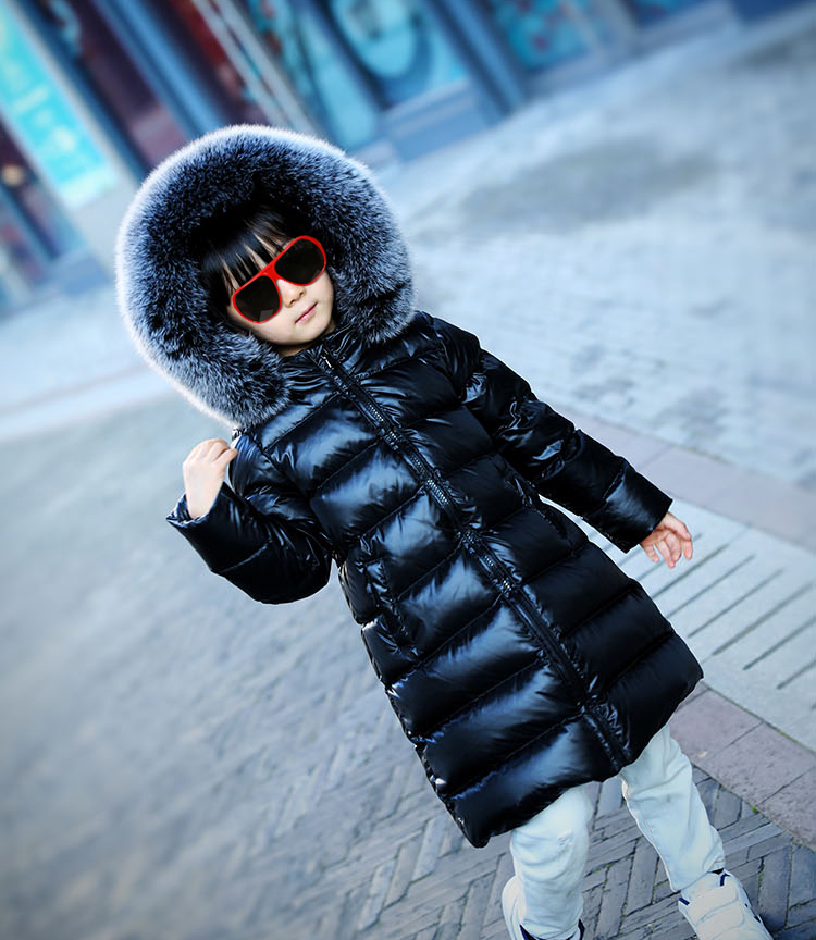 Russia Children Long Down Jacket Girl Winter Cold Thick Coats Natural Big Fox Fur Collar Snow Wear Kids Outerwear & Coats 2018 winter baby boy down jacket large fur girl down jacket natural fur kids snow wear children down outerwear 90