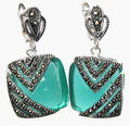Natural Green Opal Cat Eye Stone 925 Silver & Marcasite Earrings 1""