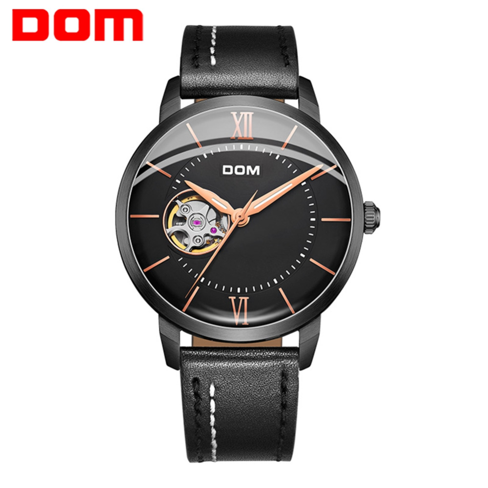 DOM New Fashion Men Watch Luxury Brand Male Automatic Mechanical Watch Men Sports Waterproof Leather Black Watches M-8120