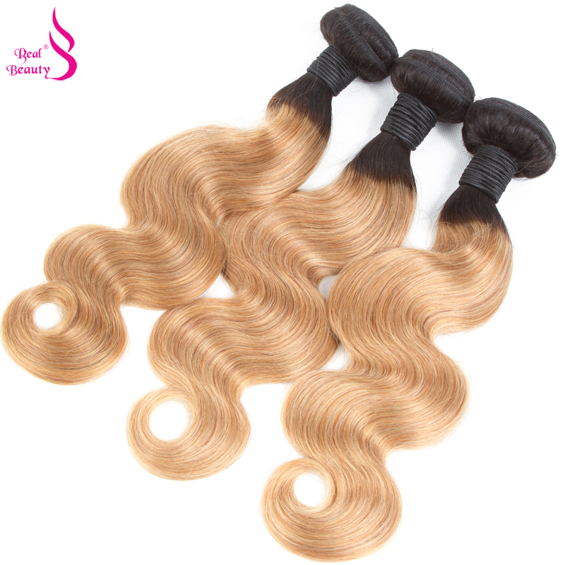Hair Extensions & Wigs Human Hair Weaves Lovely Real Beauty Blonde Brazilian Body Wave 3 Bundles Ombre Human Hair Weave Bundles Two Tone 1b 27 Hair Extensions Remy Hair Fine Quality