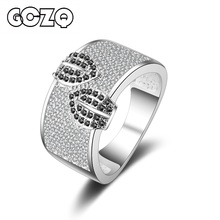 GCZQ Charm Full CZ Crystal Wide Rings For Women Fashion Brand Sliver color Luxury Brand Cute girls Party Ring Jewelry