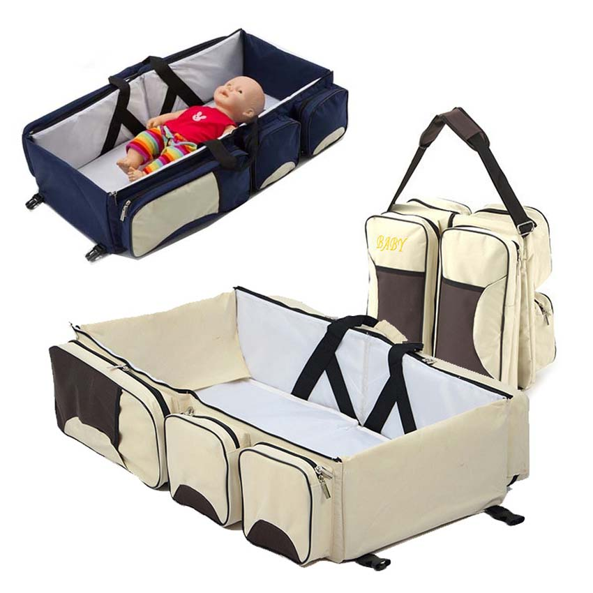 Portable Baby Cribs Newborn Safe Cot Bags Foldable Infant Travel Portable Folding Baby Bed Nappy Mummy Bags Stroller Bags dewel foldable baby cribs portable safe newborn cot mummy baby travel bags supplies storage 5 pocket shoulder bag baby nappy bed