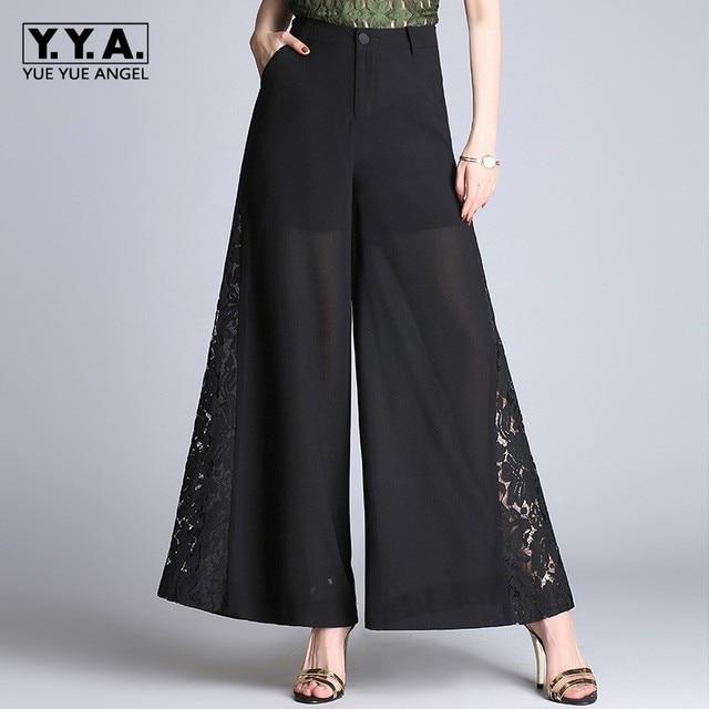 Boho Chiffon Wide Leg Pants Women Summer OL Work Lace Embroidery High Waist  Loose Trousers Pantalon Femme Baggy Plus Size 4XL 5f3bb960a