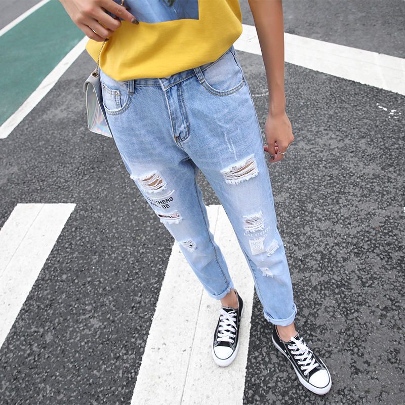 Loyalget Streetwear Ripped hole jeans female Casual pocket pencil jean pants Summer Autumn Mid waist jean women bottom Trousers