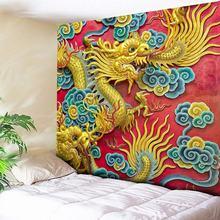 3D Print Tapestry Wall Hanging Psychedelic Dragon Decorative Wall Tapestries Sandy Beach Throw Rug Bohemian Fabric Wall Cloth brick wall print crystal velvet fabric bathroom rug