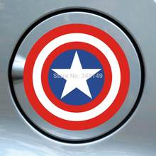 Aliauto Auto-Styling Captain America Shield Auto Sticker Tank Cap Decals Voor Motorfiets Volkswagen Polo Golf Peugeot 206 opel(China)