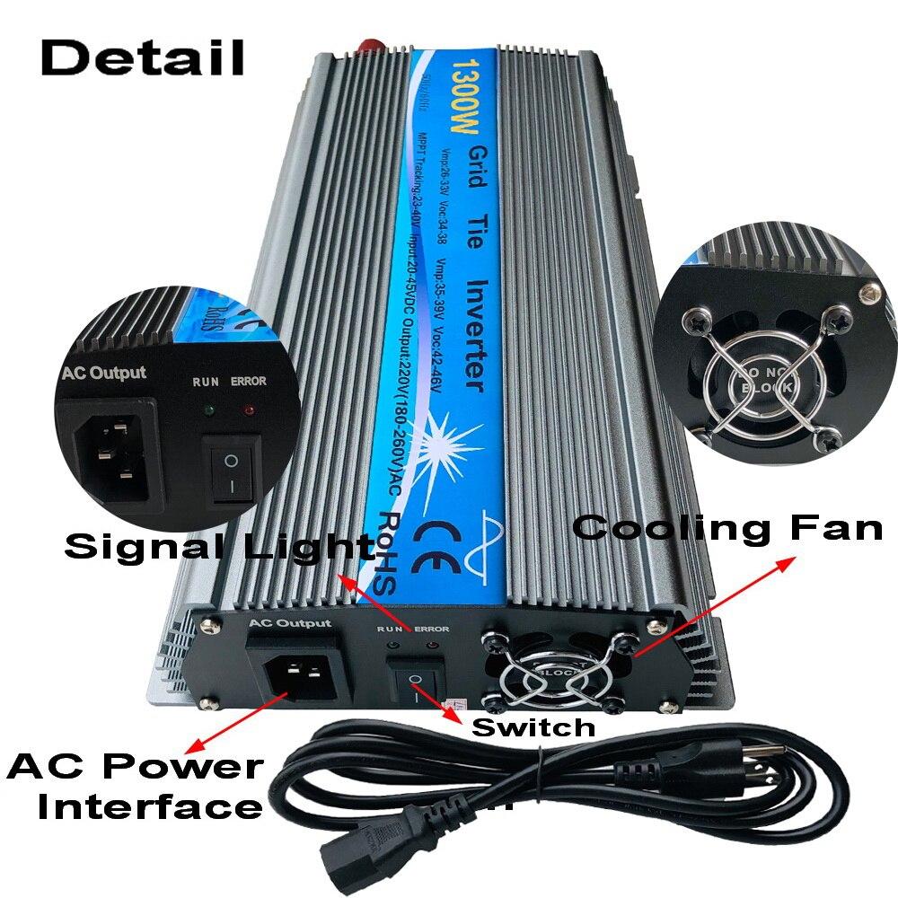 1300W Grid Tie Solar Inverter, 20-50V DC zu AC180-260V Reine Sinus-wechselrichter für 1300-1800W 24 V, 30 V, 36V PV oder Wind Power