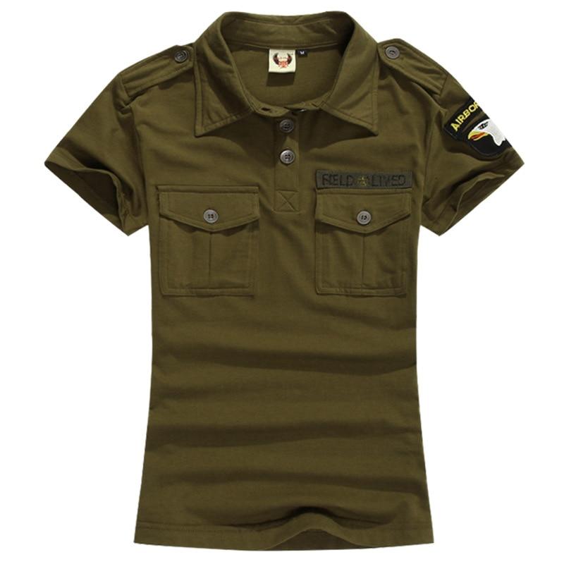 Letní dámská armáda zelená bavlněná trička Dámská krátký rukáv Vojenské uniformní maskovací tričko Casual Tee Tops Plus Velikost 5XL