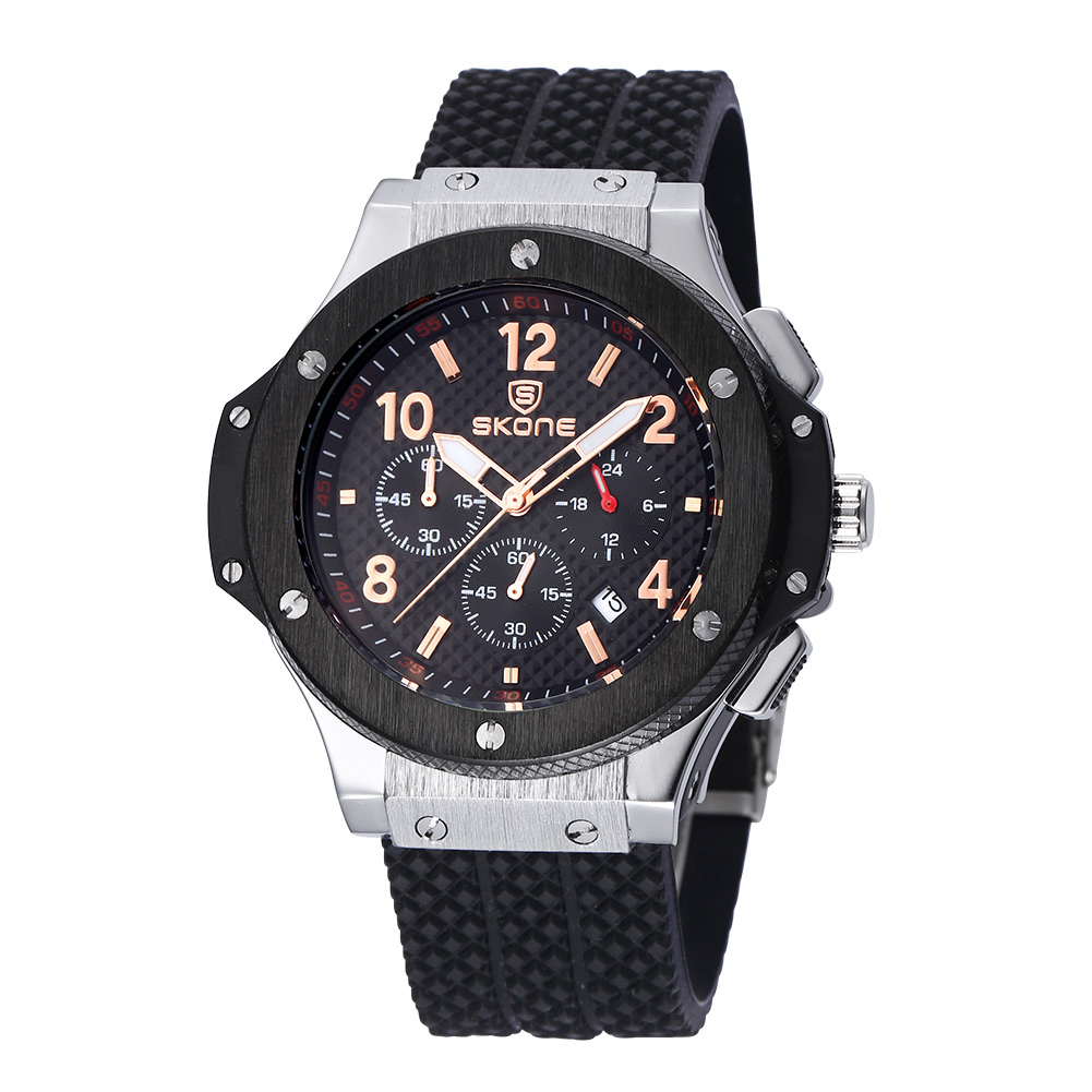 ФОТО SKONE Male Date Chronograph Watch Men Black Silicone Strap Big Face Waterproof Sport Watch Casual Army Military Wristwatch Boys