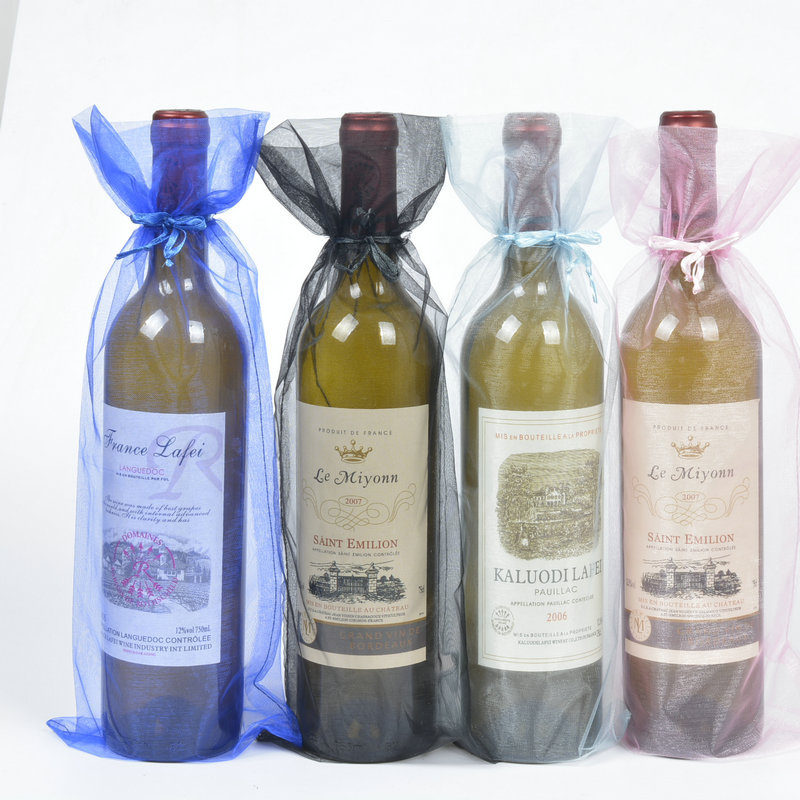Wine Christmas Packaging.Us 140 0 Organza Gift Bags Drawstring Wine Packaging Sack Pouch For Party Wedding Christmas Decoration Wine Bottle Cover F20174028 In Storage Bags