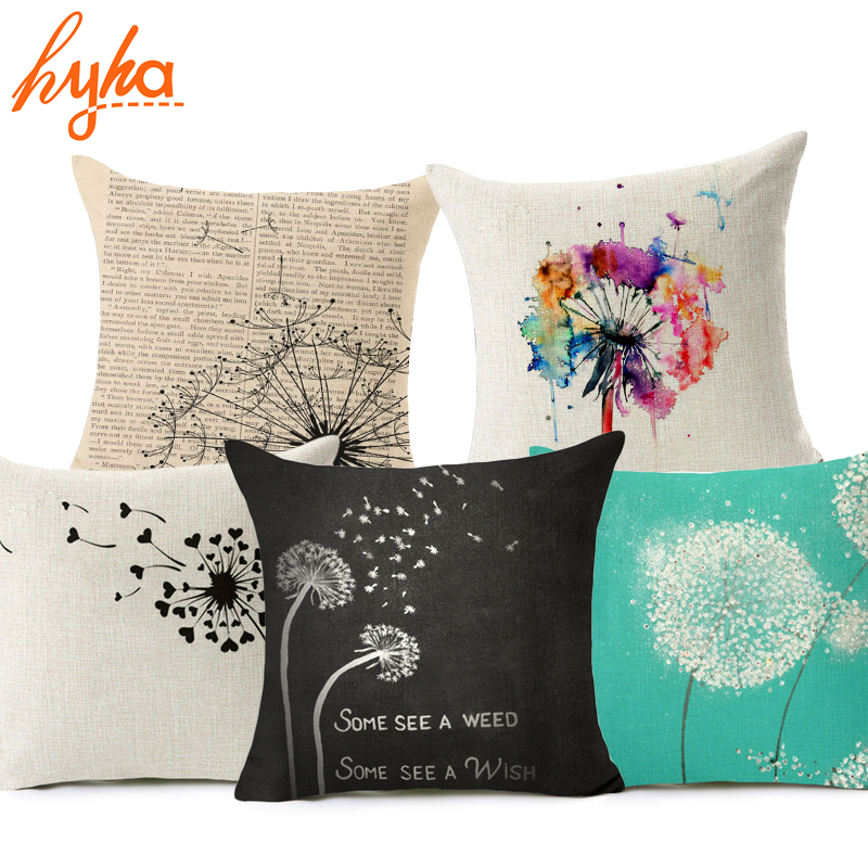 Hyha Flying Dandelion Cushion Cover Cotton Linen Letter Cartoon Character Home Deocrative Pillow Cover for Sofa Cojines