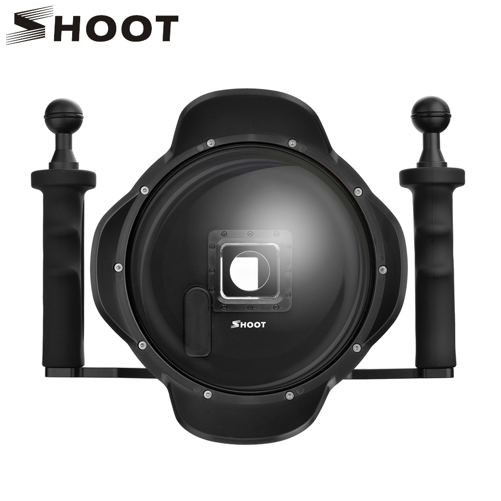SHOOT 6 inch Dome Port For GoPro Hero 4 3+ Black Silver Camera with Handheld Stabilizer and Waterproof Case for Go Pro Accessory цена и фото