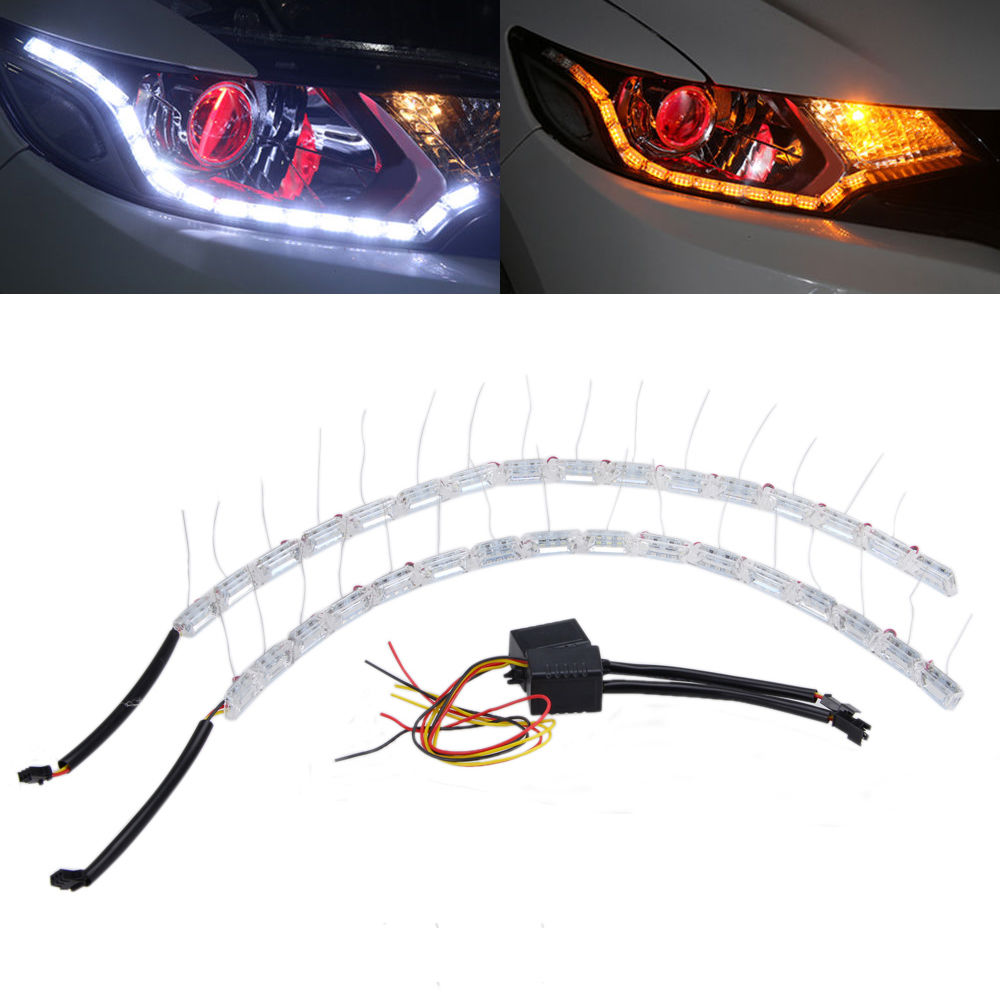 2Pcs Car Stling Car DRL Daytime Running LED Headlight Flexible Strip Light White Amber Tear Eye Turn switchback Lamp DC12V 6pcs 60cm flexible tear strip switchback daytime running light drl with turn signal light 7 dual color fd 4767