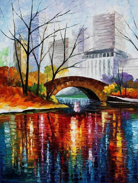 Peinture pour vente Coloré peintures à l\'huile Toile central park de ...