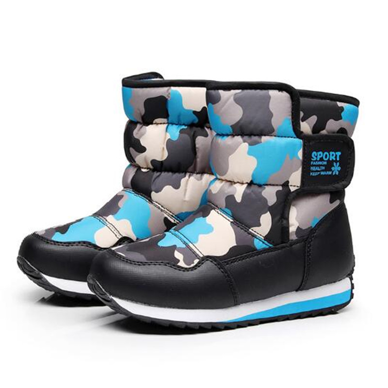2018 New Thickening Plush Children Snow Boots Boys Girls Waterproof Warm Shoes Kids Boots Mid-Calf Baby Toddler Flat Winter 018 2016 new warm snow boots women plush winter mid calf boots fashion wedding shoes brand lady botas flat shoes