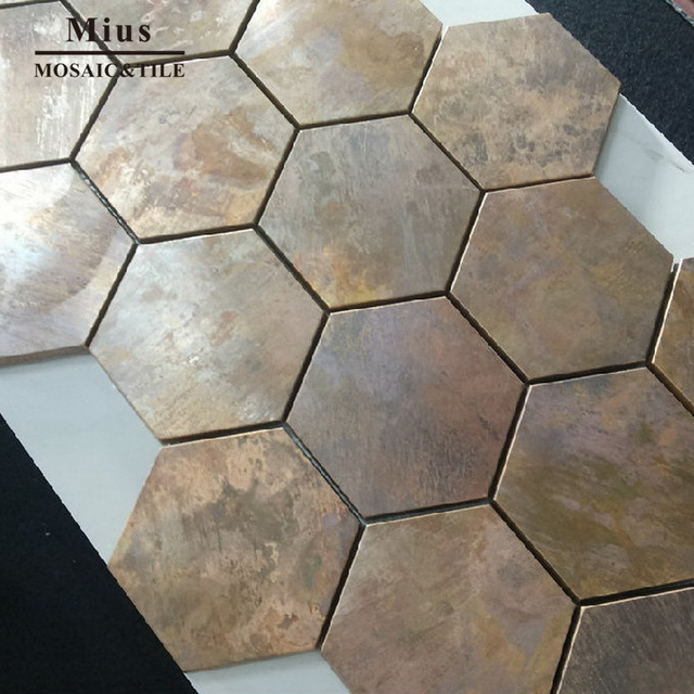 China Hexagonal Copper wall tile in bronze brushed for kitchen ...