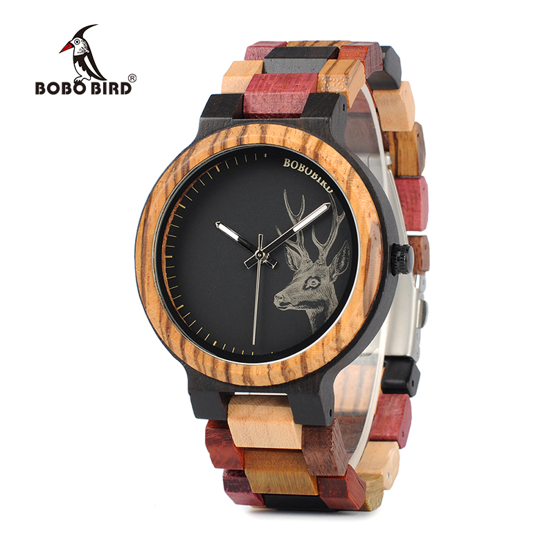 BOBO BIRD WP14-2 Wooden Watch for Men Women Colorful Wood Band Elk Deer Head Quartz Watches Luxury Unisex Gift bobo bird brand new wood sunglasses with wood box polarized for men and women beech wooden sun glasses cool oculos 2017