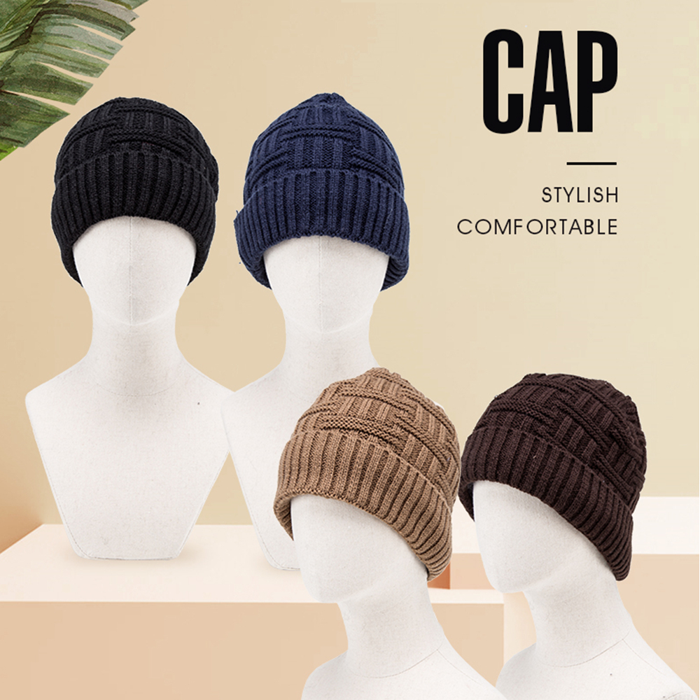BISON DENIM 2019 NEW High Quality Knit Hat Beanie Caps Pompom Warm Winter Hat Men Women Cuff Skullcap Beanie M9494(China)