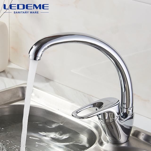 LEDEME Best Quality Chrome Finish Brass Water Power Kitchen Faucet ...