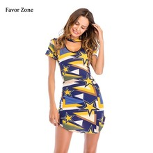Hanging Neck Halter Short Sleeve Summer Dress Women Print V-neck Sexy Bodycon Casual Slim Wrap Mini Party Beach Dresses
