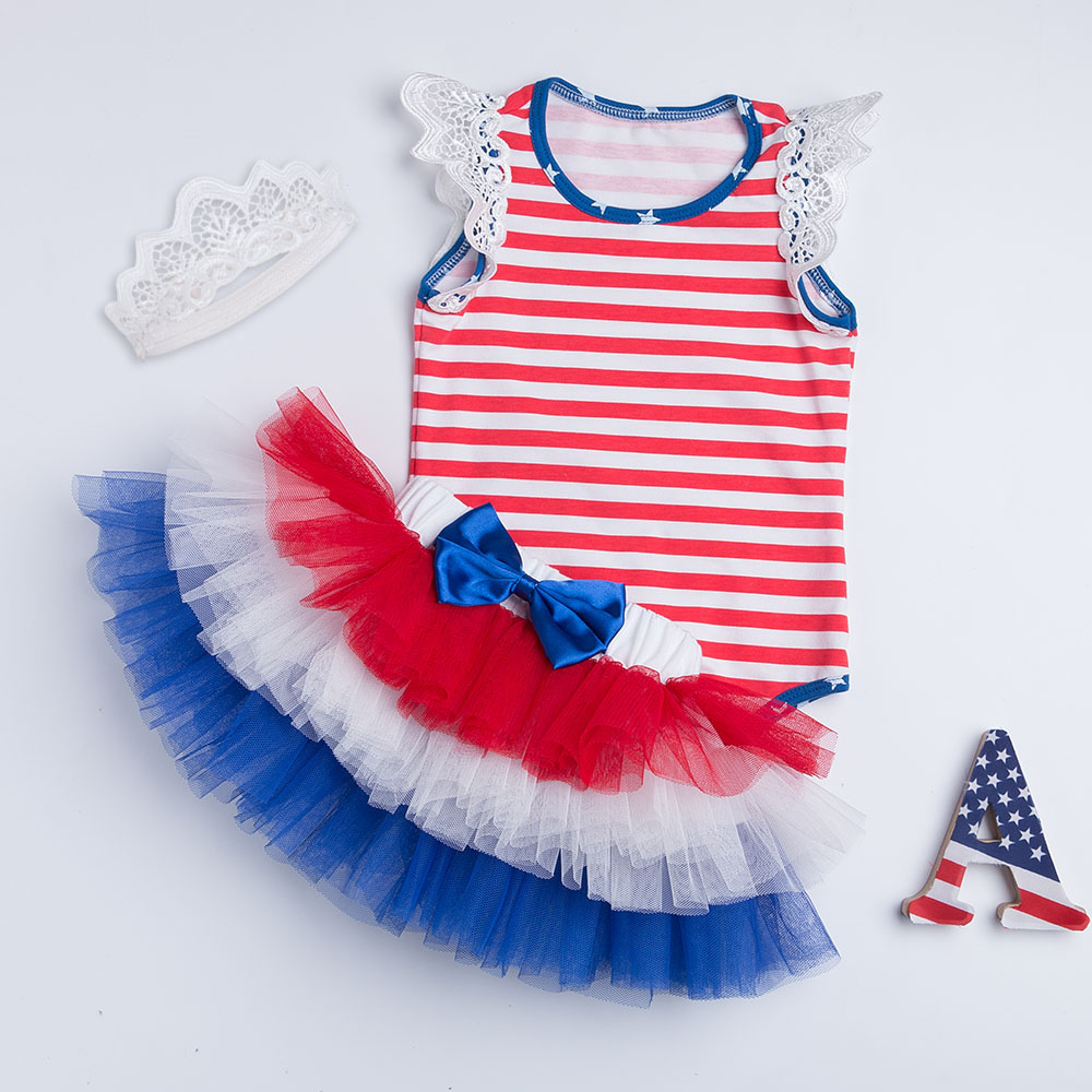 Amandaz Toddler Baby Tutu Casual Stripe Bow Flag Romper 4Th of July Day Theme Party Girl Jumpsuit Dress Dances Dress